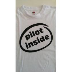 """T-Shirt """"PILOT INSIDE""""  Bianca Unisex"""