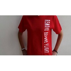 "T-SHIRT ""REMOVE BEFORE FLIGHT"" Red Unisex"