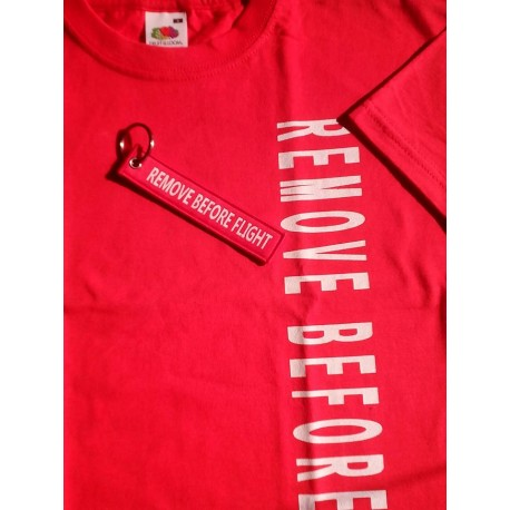 "T-Shirt ""REMOVE BEFORE FLIGHT ""  Rossa Unisex"