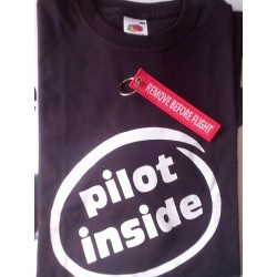 "T-SHIRT ""PILOT INSIDE"" Black + KEY RING REMOVE"