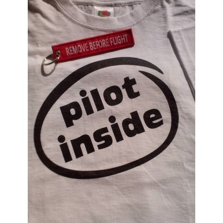 "T-SHIRT ""PILOT INSIDE"" White + KEY RING REMOVE"
